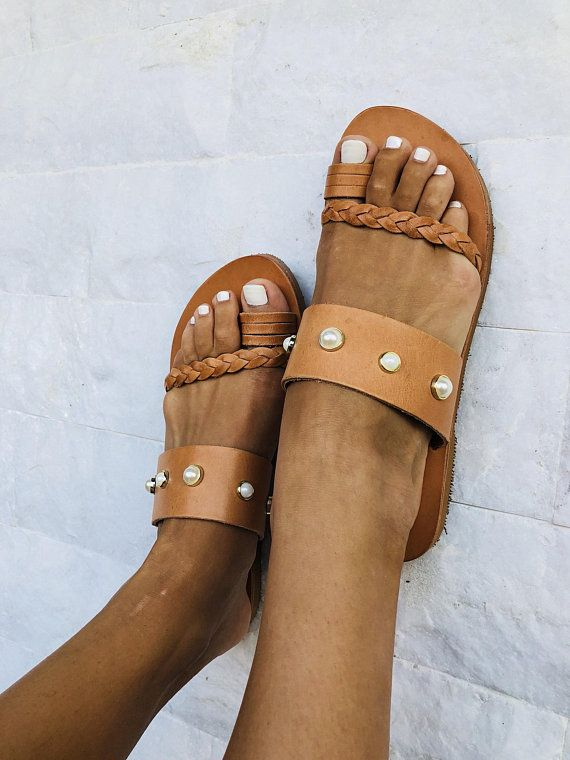 3dcc9588b Flat Sandals, Leather Sandals, Handmade Sandals, Made from 100% Genuine  Leather, Decorated with Studded Pearls. #clothing #shoes #women #brown  #white ...