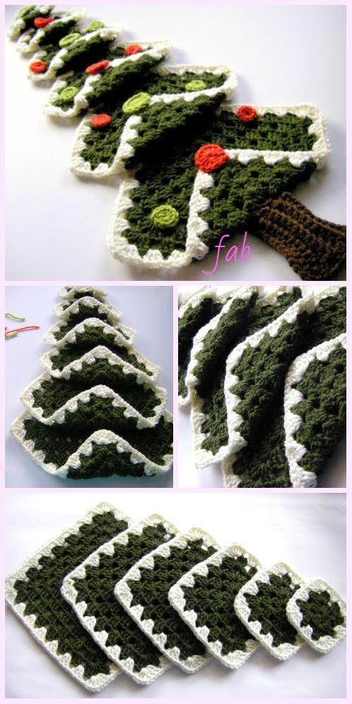 Vintage Granny Square Christmas Tree Free Crochet Pattern-Video ...