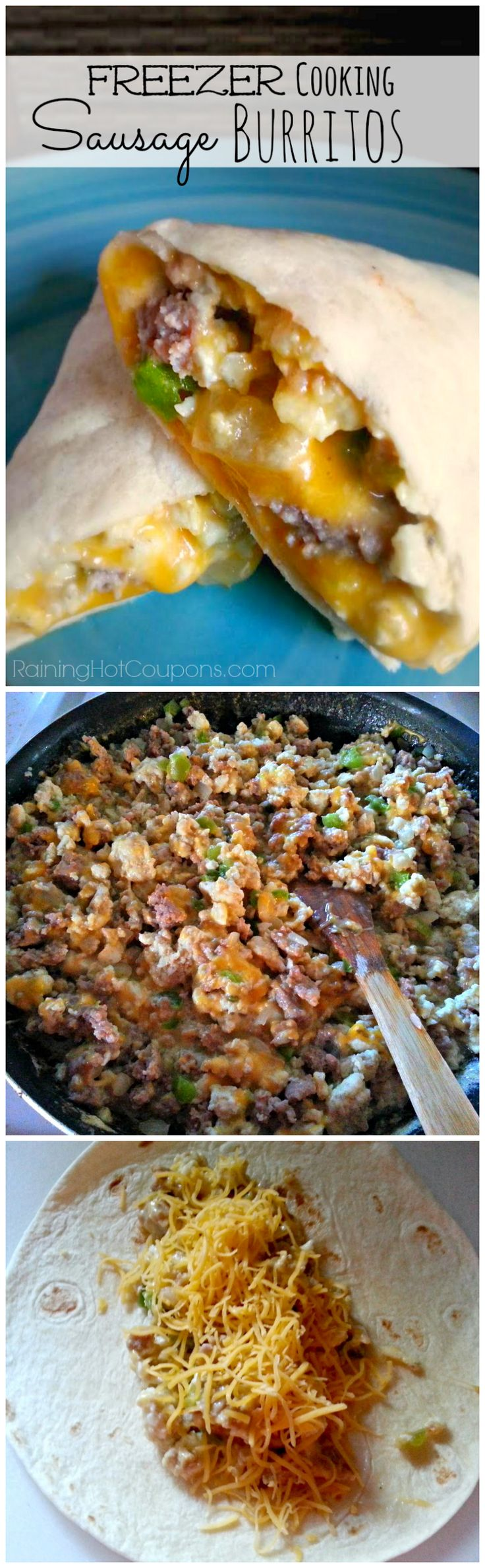 Easy Sausage Breakfast Burritos (Freezer Cooking Recipe) - These were so easy and have really come in handy for quick breakfasts! I used wheat tortillas and whole eggs instead of egg whites. I also used pork sausage instead of turkey. YUM!!!!