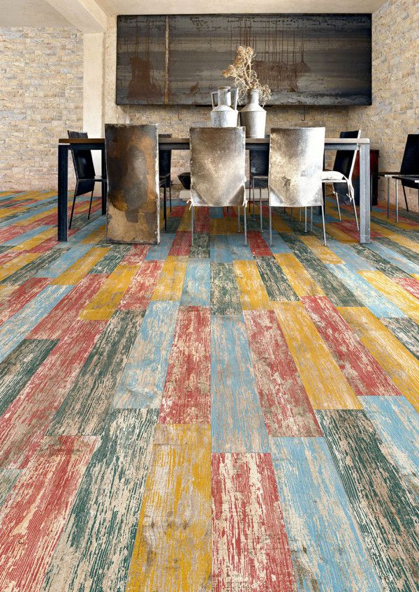 12 Rooms with Creative Tile Floors in main interior design home furnishings  Category Porcelain tiles made to look like reclaimed wood