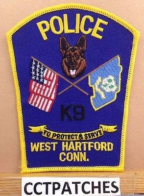 West Hartford, Connecticut Police K-9 Unit (Facing Center) Shoulder Patch Ct 2