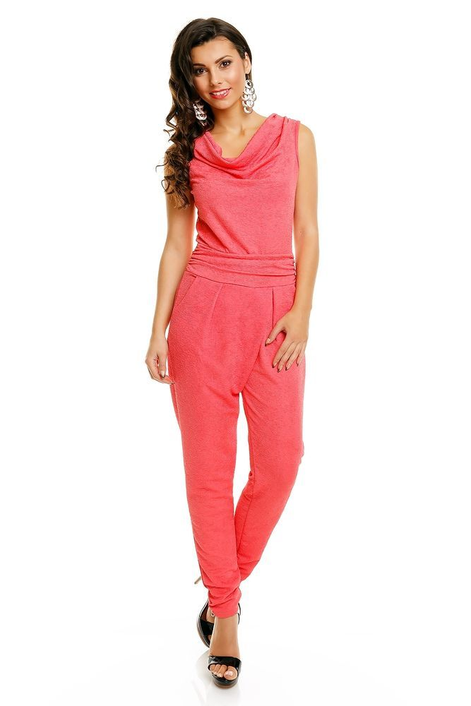 SEXY SPITZE LACHS KORALLE PARTY ABEND JUMPSUIT OVERALL ANZUG DAMEN S M 36 38