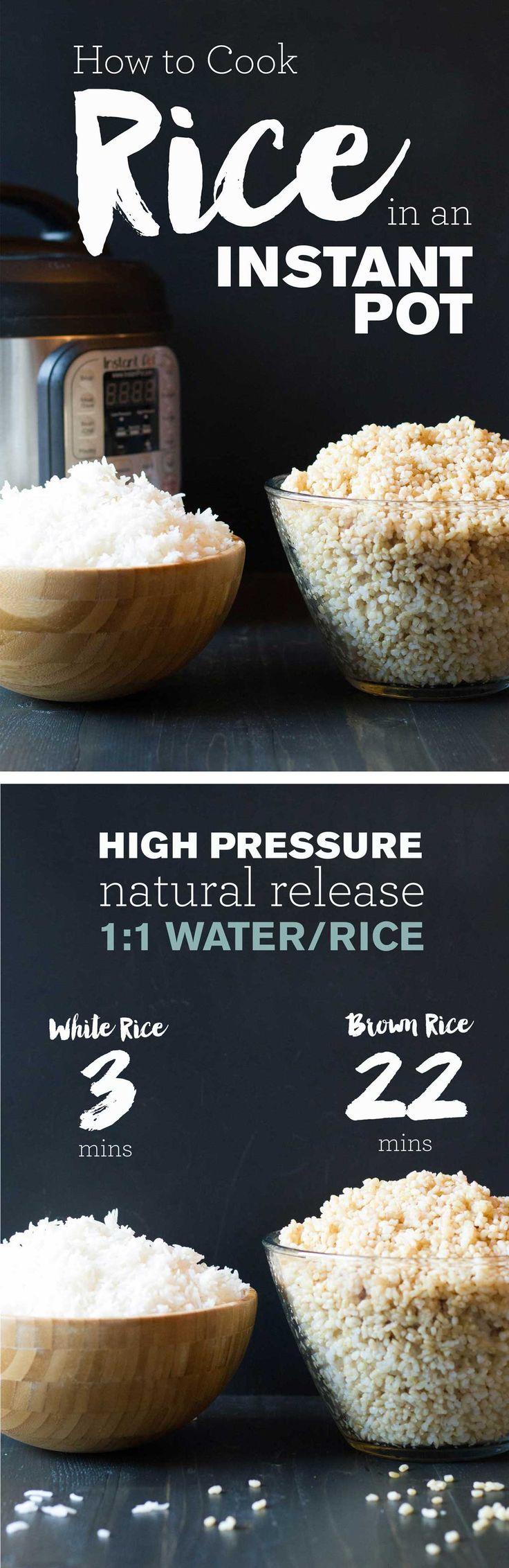 How to Cook Rice in an Instant Pot |1:1 rice:water | White Rice 3 min + natural release | Brown Rice 22 min + natural release