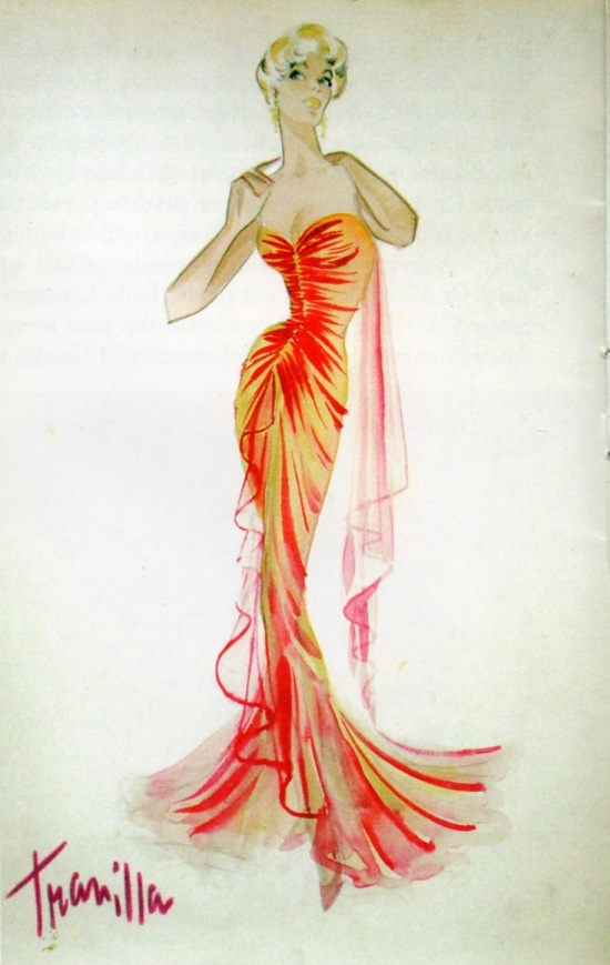 "Costume design sketch for Marilyn Monroe by Travilla for ""Gentlemen Prefer Blondes"""