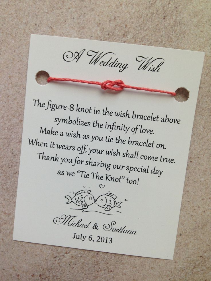"$1.60 This Adorable Wedding Favor is a cute, unique way to thank your wedding guest with ""Wedding Wishes"" your guest will tie the all natural wish bracelet on and make a wish, when the bracelet natural wears off there ""wish will come true""  The favor card is completely customizable and does not only ..."