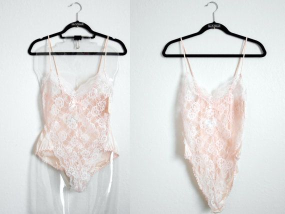 70s 80s vintage lingerie  pink teddy lingerie by MaxandMidnight