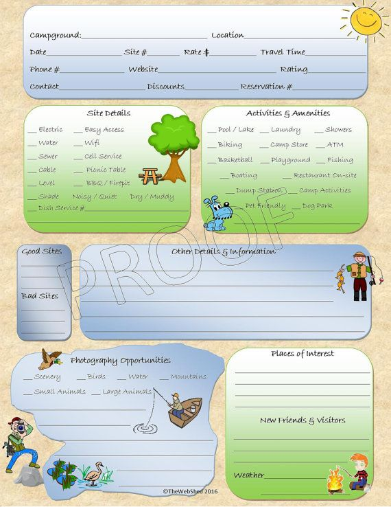 Campground Review Camping Journal Worksheet Printable