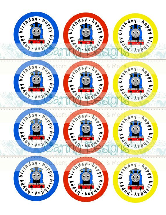 This is a photo of Massif Free Printable Thomas the Train Cup Cake Toppers