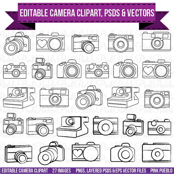 Design your own photography logo with this diverse set of editable PSDs, PNGs and vectors! The Cameras Clipart set contains 27 PNGs with transparent