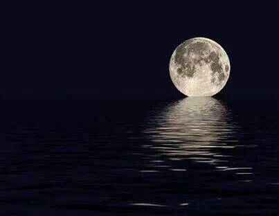 The Moon is kissing the ocean!