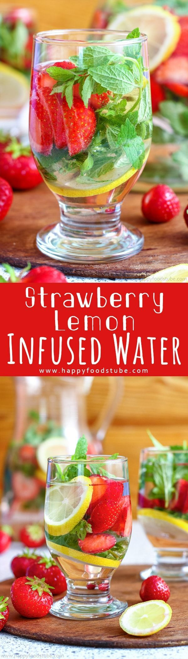 Strawberry Lemon Infused Water is a great drink for outdoor parties, barbecues or lazy pool days. Fresh strawberries, mint and lemon turn water into a tasty flavored drink. Healthy summer detox drinks recipe via @happyfoodstube
