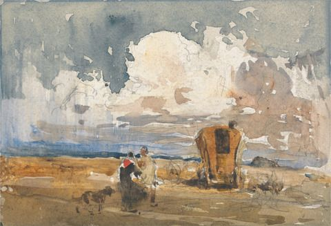 follower of David Cox, 1783–1859, British, Landscape with Gypsies and Wagon, mid-19th century, Watercolor and graphite on medium, slightly textured, white wove paper, Yale Center for British Art, Paul Mellon Collection