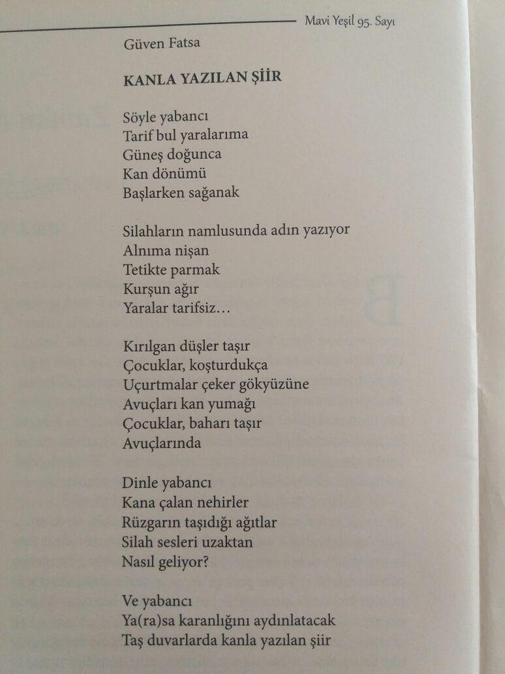 Kanla Yazılan Şiir -Mavi Yeşil Edebiyat Dergisi Sayı 95 (Eylül-Ekim) Yıl: 2015-
