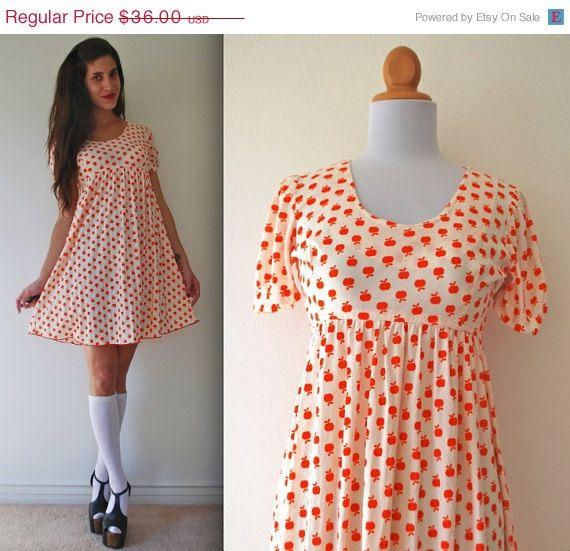 20 Off Vintage 60s 70s Apple A Day Mini Babydoll Dress