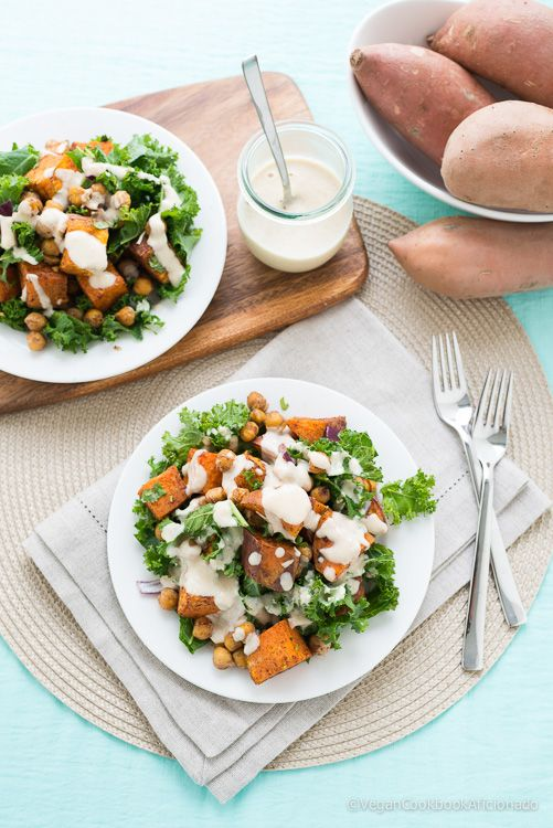 Vegan Roasted Sweet Potato, Chickpea and Kale Salad with ...