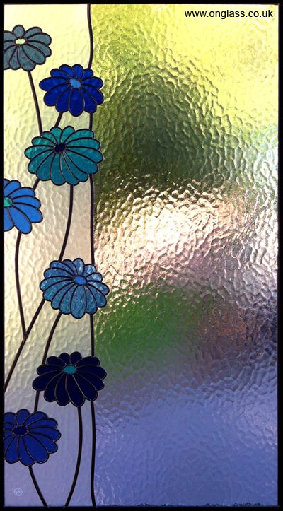 Stained glass flowers. Privacy glass with pattern up side. Very tranquil...