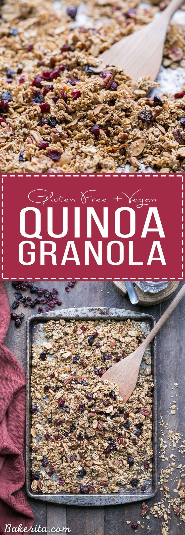 This Quinoa Granola is a nutty, crunchy breakfast or snack option that's packed with whole grains and protein. This maple-sweetened granola is gluten-free and vegan, with cinnamon and dried cranberries for flavor! The quinoa bakes up into delicious cluste