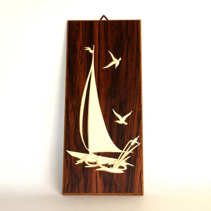 Vintage Yacht & Birds Wooden Wall Hanging - Mid Century 3D Plastic Seagull Sailing Boat - Hand Crafted Wall Plaque - Made in West Germany by FunkyKoala on Etsy