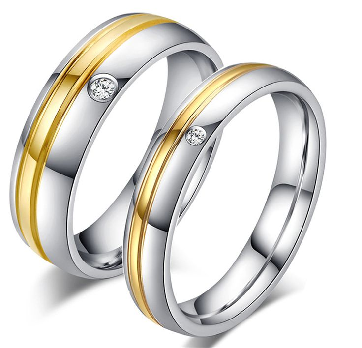 Fashion gold old Plated Wedding Rings With Stone Stainless Steel Couple Finger Rings For Women And Men Couple Ring