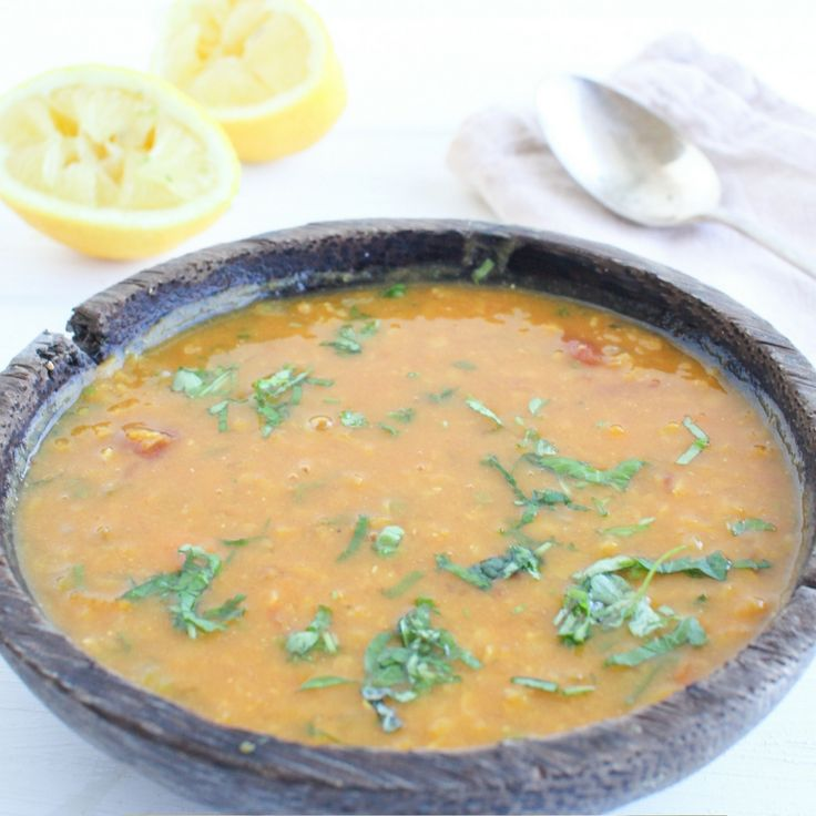 Moroccan Style Red Lentil Soup.  Click Visit for the recipe on our blog.