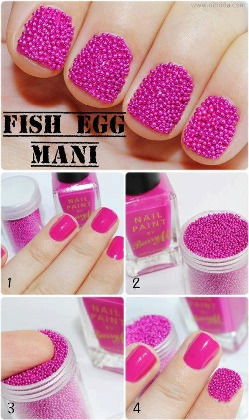 Fish egg nail art DIY