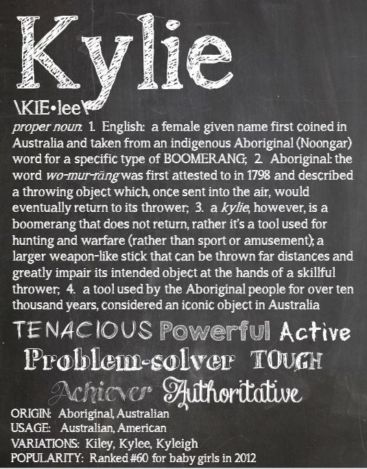 """The meaning of Kylie really surprised us (in a good way). At first we thought - oh great, here we go again - another Kayla, Kaylee, Kyla, Kaylyn, K-K-K-Kname. But this one has a pretty cool meaning and a highly interesting history. It means """"Boomerang"""" - but NOT the kind that comes back to you. A great name for an independent, rebellious little girl with some gusto! You go girl!! And go...and go...and go...  KYLIE Personalized Name Print / Typography Print / by OhBabyNames, $20.00"""