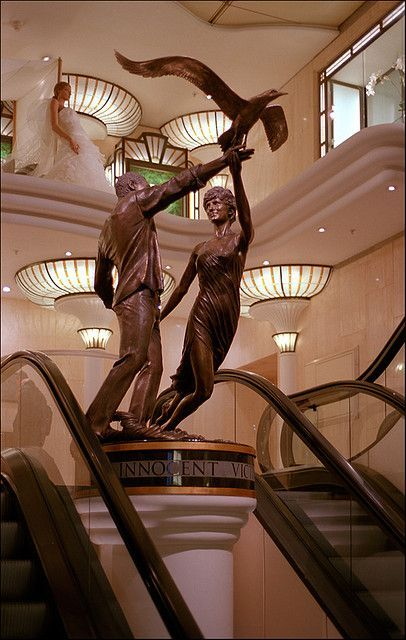 """At Harrods - """"Innocent Victims"""" - A memorial to Princess Diana and Dodi Al Fayed."""