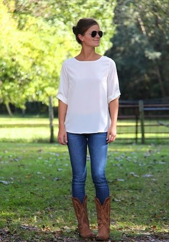 Cowboy Boots + Jeans + Nice White Top - Simple Outfits are the Best Outfits | Etsy | #Trenditions