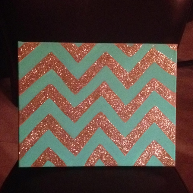Glitter chevron on canvas- glue and paint