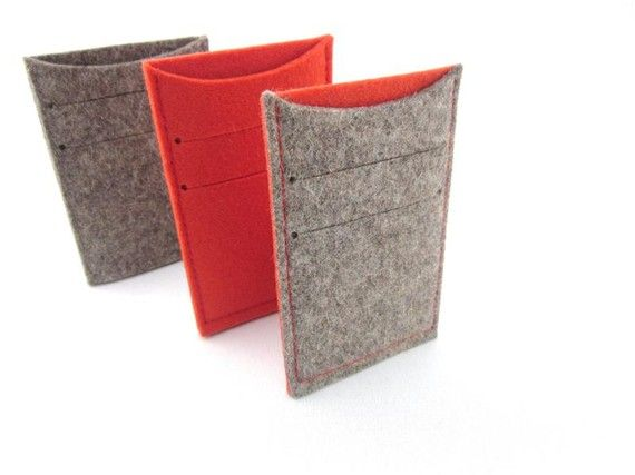 Wool felt Gift Set of 3 Business Card Holders Credit by Ecolution, $35.00