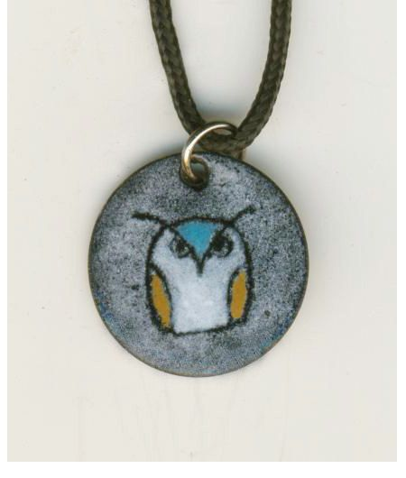 Hand Painted Enamel Jewelry Coin Small Owl Pendant Necklace