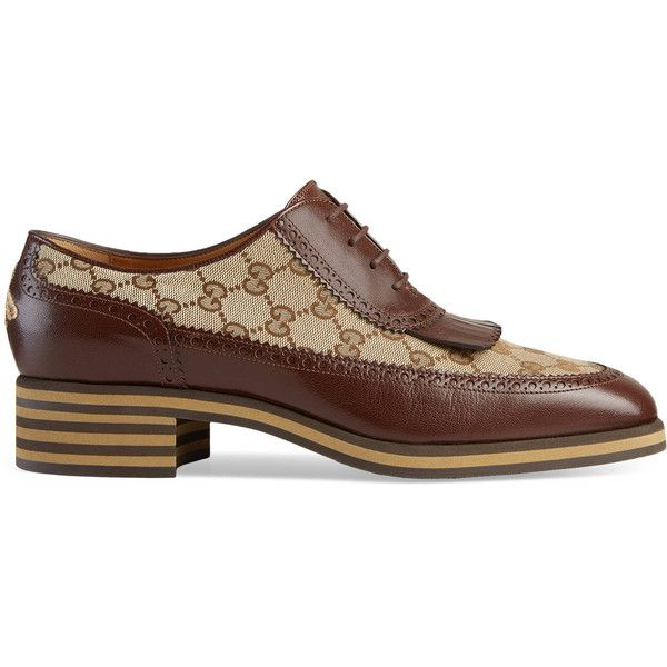 Gucci Leather And Gg Brogue Shoe (€810) ❤ liked on Polyvore featuring men's fashion, men's shoes, lace ups, men, shoes, mens leather brogues, gucci mens shoes, mens summer shoes, mens brogue shoes and mens brogues