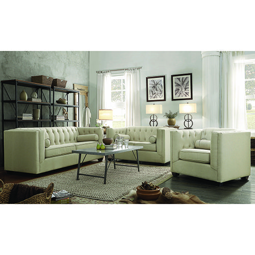 Coaster Furniture 504904 Stationary Sofa w/ Tufted Back & Lumbar Pillows Oatmeal Brown Transitional   Bellacor   – Products