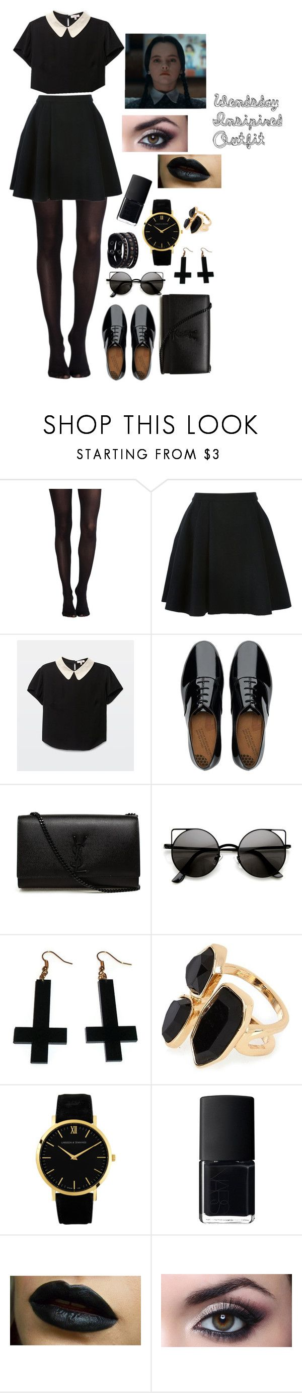"""""""Inspired Wendsday Outfit/Costume"""" by omfvalerie ❤ liked on Polyvore featuring SPANX, Avelon, FitFlop, Yves Saint Laurent, Chicnova Fashion, River Island, Larsson & Jennings, NARS Cosmetics and Replay"""