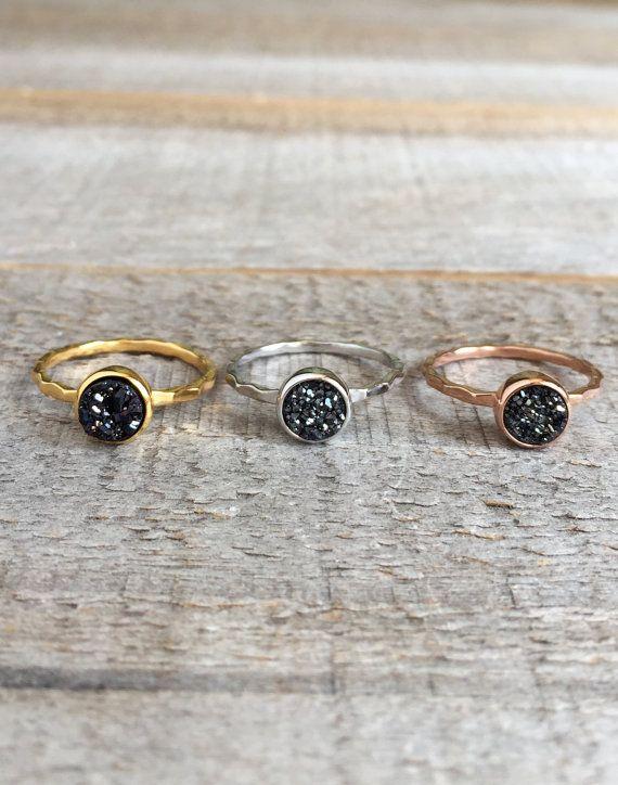 Druzy Ring Tiny Black Druzy Ring Rose Gold Druzy Ring Gold