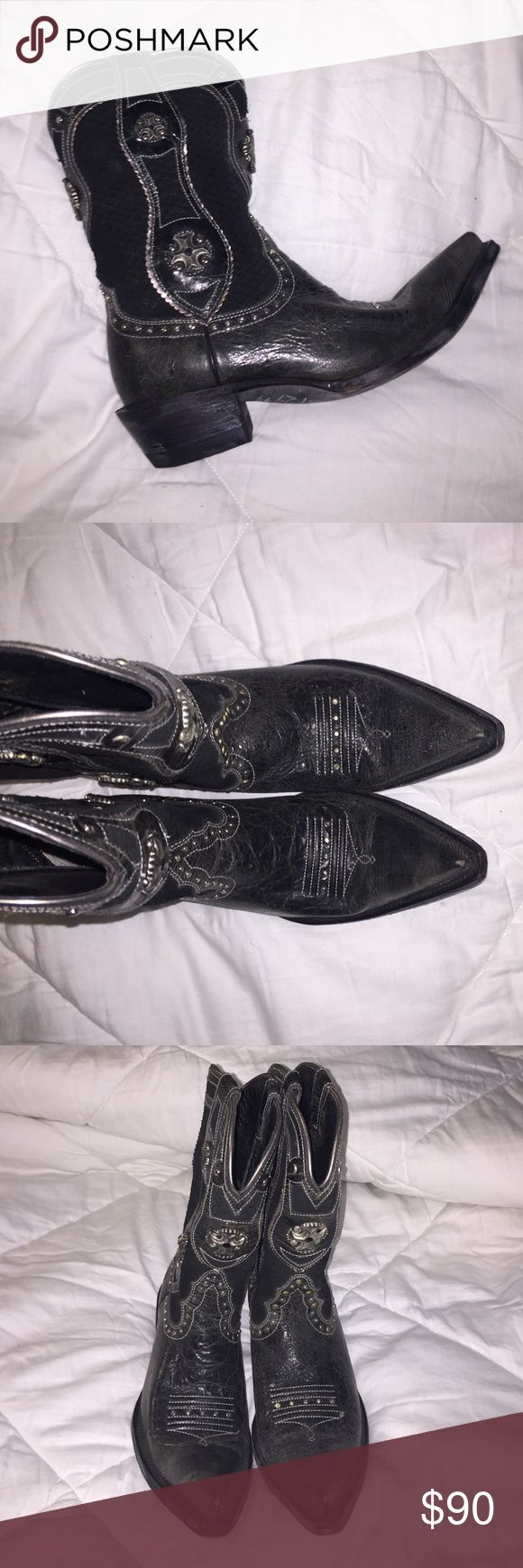 Black cowboy boots These boots look great with a short dress or jeans. I've only worn them a couple of time, so they still look and feel brand new. Reasonable offers are welcome😊 Ariat Shoes Heeled Boots