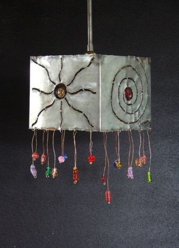 Handmade pendant lamp made of pewter coated copper and handmade glass beads.