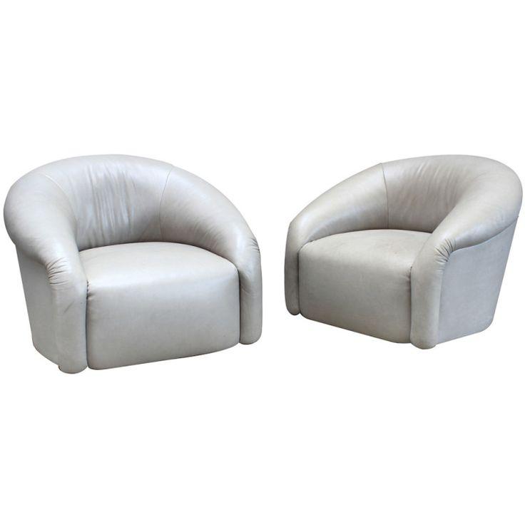 Barrel Back Swivel Club Chairs