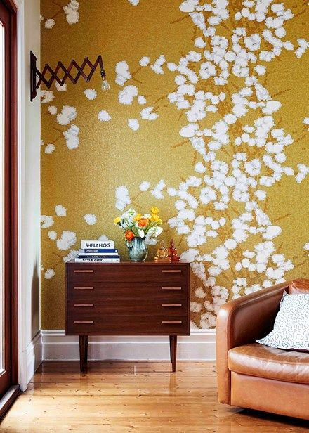 The richly golden-hued Elitis 'Narco Flowers' wallpaper is a risk that pays off | Home Beautiful Magazine Australia
