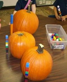 Amazing Pumpkin unit ideas...it has EVERYTHING pumpkin (science, literacy, music, art, dramatic play, math, etc). Check it out if you're in a theme based centre or if the children are interested in pumpkins in High/Scope. If you're in Montessori, well, I'
