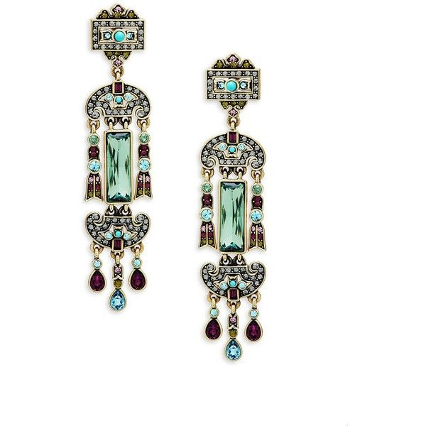 Heidi Daus Fancy Crystal Drop Earrings ($75) ❤ liked on Polyvore featuring jewelry, earrings, crystal jewellery, post back earrings, crystal drop earrings, pave earrings and fancy earrings