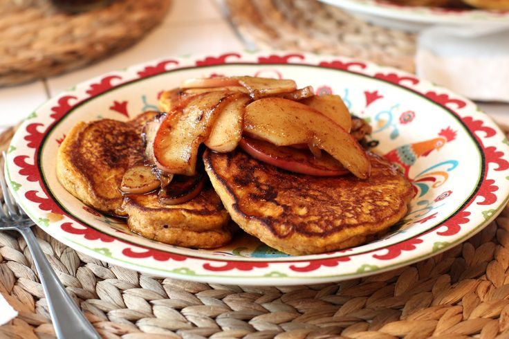 Pumpkin Pancakes with Apple Compote