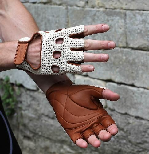 Soft leather cycling gloves with hand-crocheted backs.