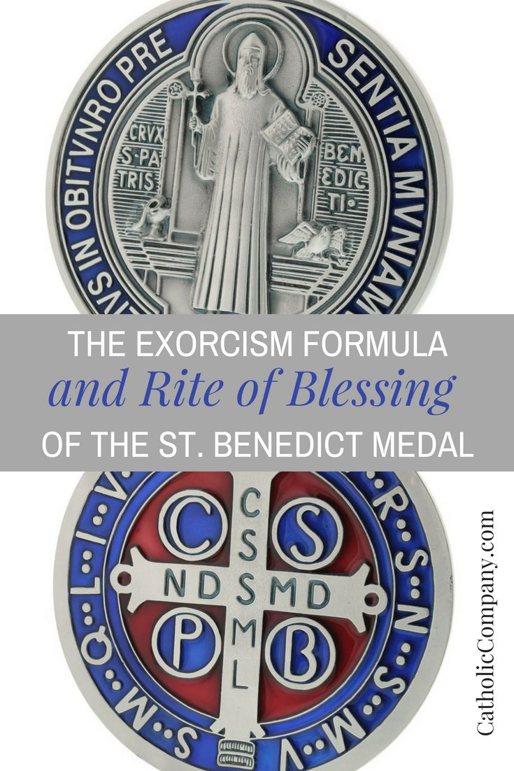 "...The St. Benedict Medal | Get Fed | A Catholic Blog to Feed Your Faith - According to the Catholic Encyclopedia: ""In an old manuscript written in 1415, was found a picture of St. Benedict holding in one hand a staff which ends in a cross and a scroll in the other. On the scroll were written in the words of which mysterious letters were the initials. Medals bearing the image of St. Benedict, a cross, and these letters began now to be struck in Germany..."""