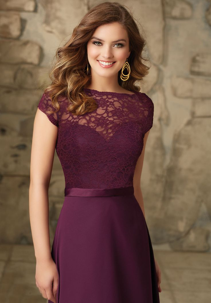 Purple Grapes Color A-line Floor-length Chiffon Short Sleeve Bridesmaid Dress Custom Made Adult Wedding Party Gown