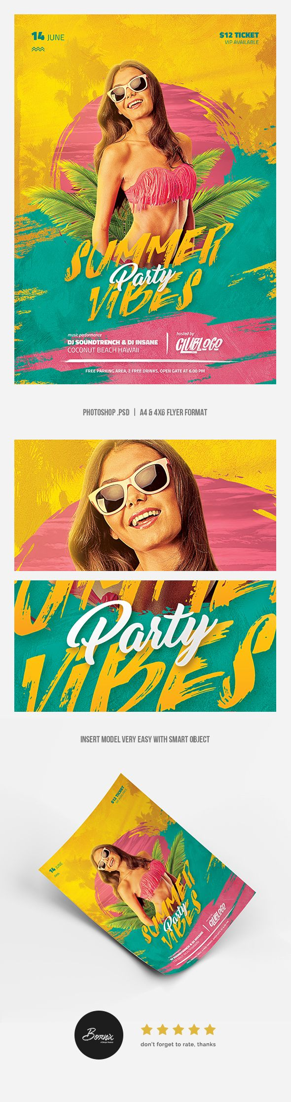 Summer Vibes Party flyer template #graphicriver #flyer #poster #template #design #adobe #photoshop #summer #holidays #party #beach #sunset #bikini #hot #sexy #model #girl #creative #ads #advertisements #advertising #event #promotion