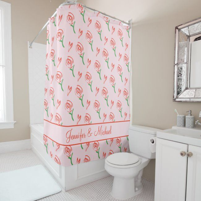 Red Hearts Roses Personalized Valentine S Day Shower Curtain