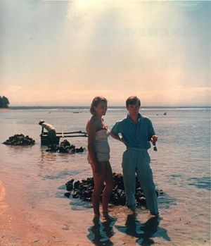 """'At his student digs, Kavanagh hears the sound of footsteps on the landing, meets the """"perfect stranger"""" of the title and an account of a rite of passage becomes an unashamed love story.' David Nicholls, Guardian (Photo: PJ Kavanagh with his wife Sally in Bali in 1958)"""