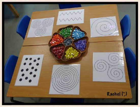 "Spirals and other Patterns (free printable)  from Rachel ("",) Good for eye-hand co-ordination!"