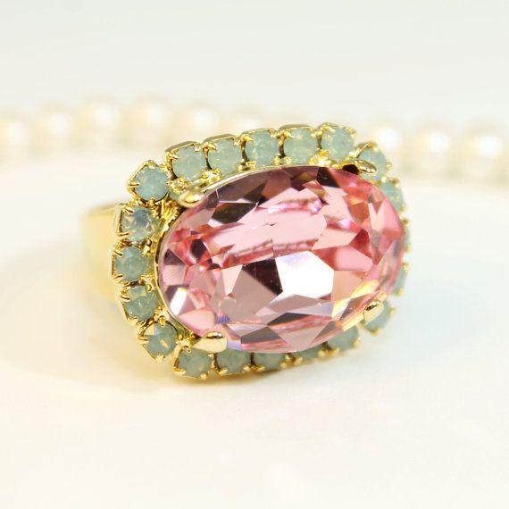 Mint Green Pink Adjustable Ring pale pink Green Opal Ring Cocktail Statement Ring Swarovski rhinestone Crystal Gold finish, Light Rose, GR46